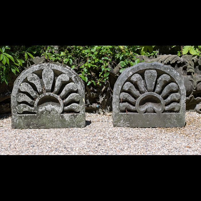9444: A pair of Greek Revival Anthymion panels carved in Portland Stone in the English Regency style. Early 19th century .  Link to: Antique fountains, sculptures, garden furniture and statuary