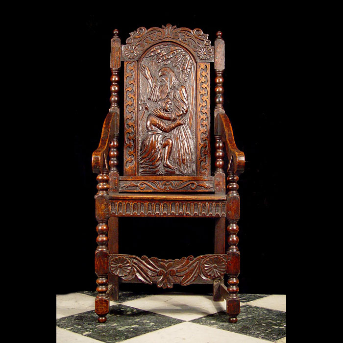 Jacobean oak open hall chair