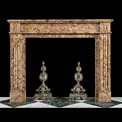 A mid 19th century French Breche D'Aleppe Fireplace mantel