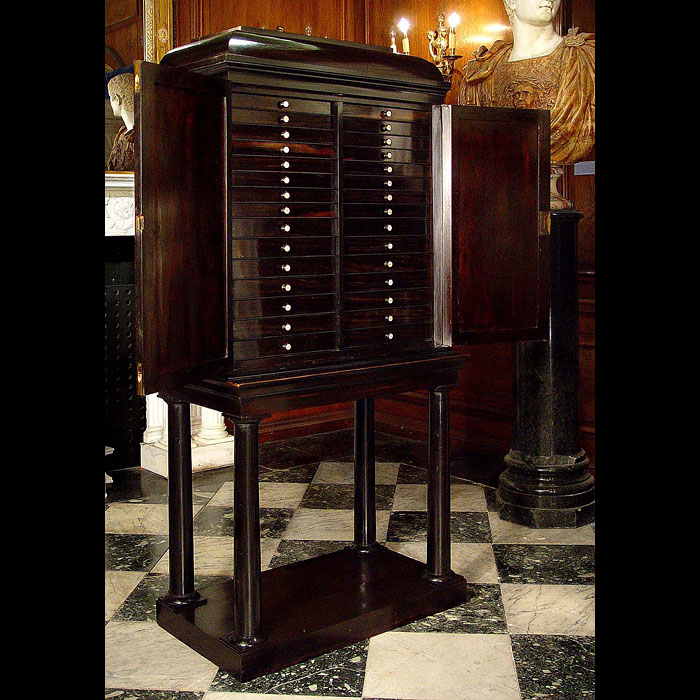 An ebony Regency antique collectors cabinet