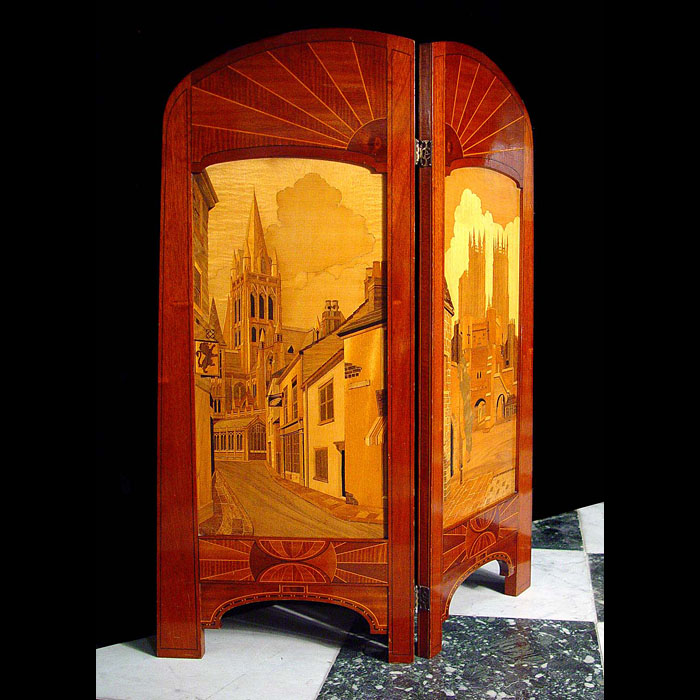 Antique Art Deco inlaid mahogany fireguard
