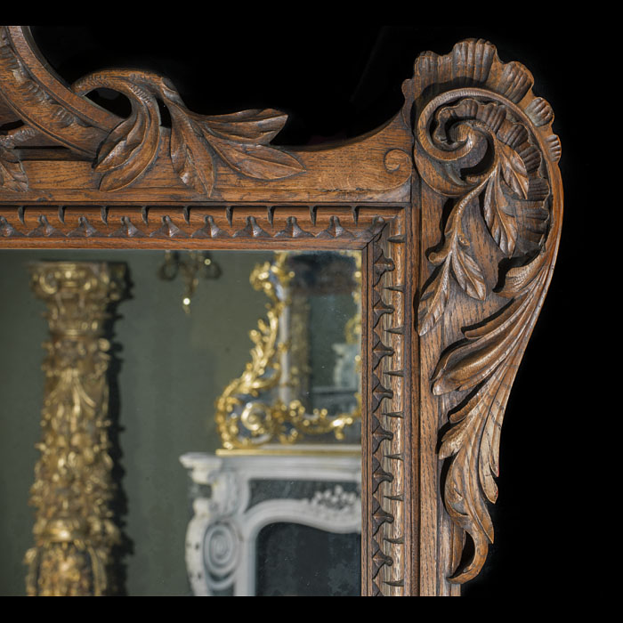 Antique Chippendale Rococo Oak Overmantle Mirror