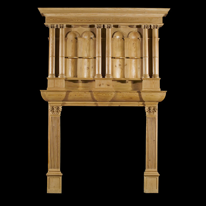 A Gothic Revival Antique Pine Chimneypiece