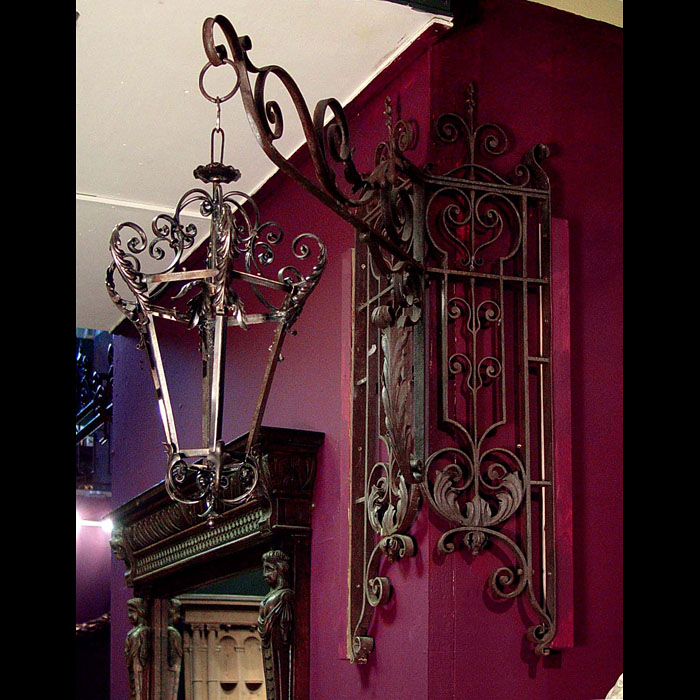 Antique Wrought Iron Rococo Light Bracket with corner Mount