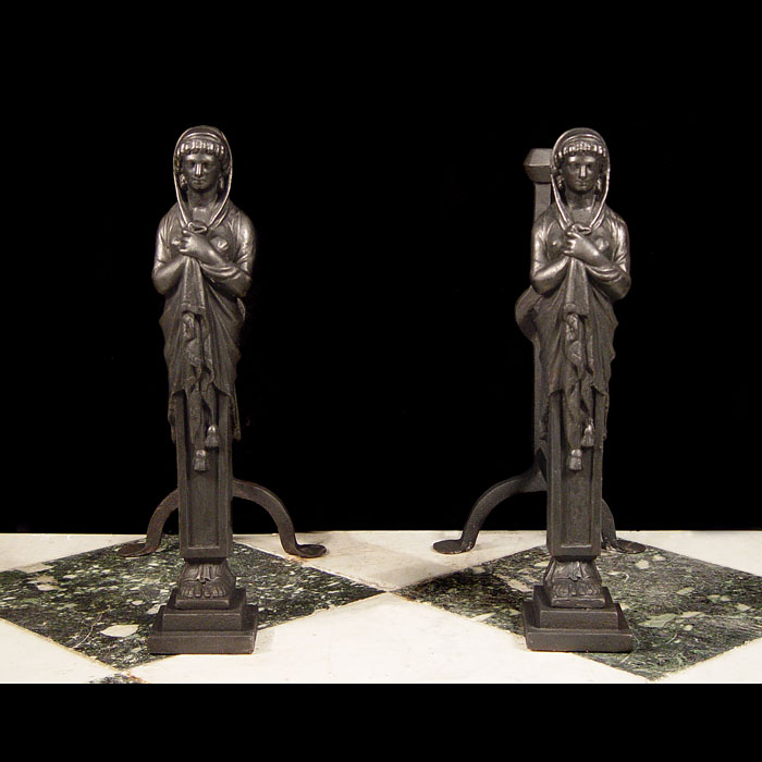 17th Century Style Antique Figural Andirons