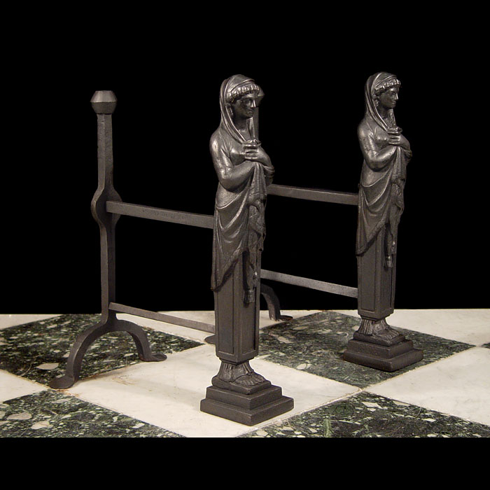 An Antique pair cast iron 17th century style Figural Andirons