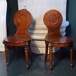 Antique Georgian Pair of Mahogany Chairs on Turned Legs