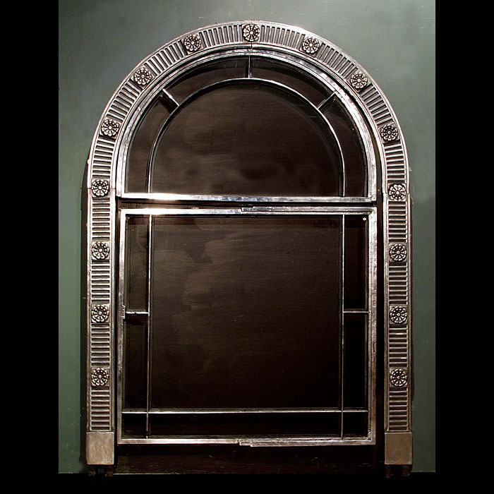 9600: A quantity of cast iron arched windows in the English Regency manner with stop fluted and rosette decoration, shown restored and Burnished but unglazed….. comprising :   (This one on display)  5 Large