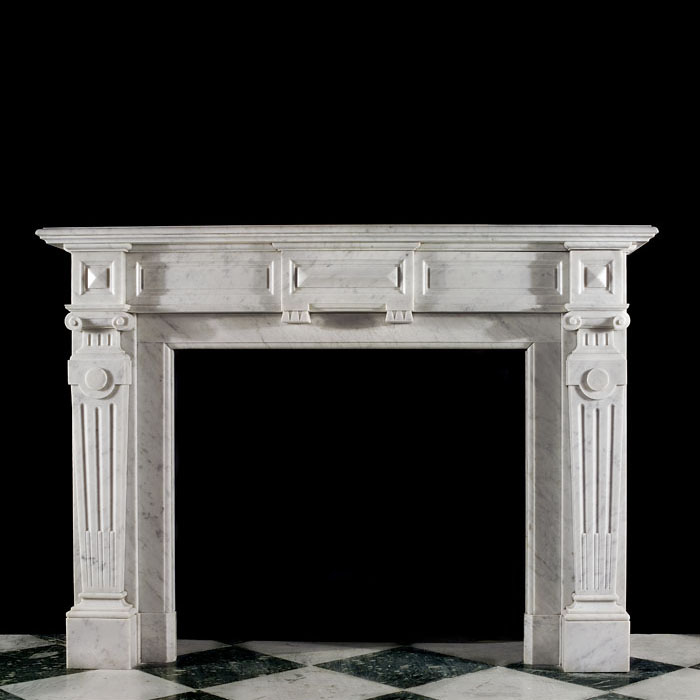 A Palladian Style Carrara Marble Fireplace