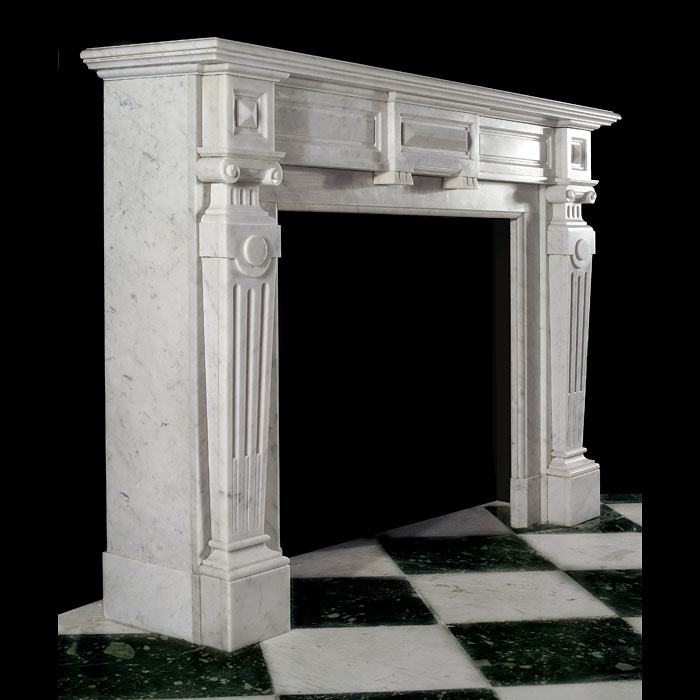 Antique Victorian Palladian style white Carrara Marble Fireplace