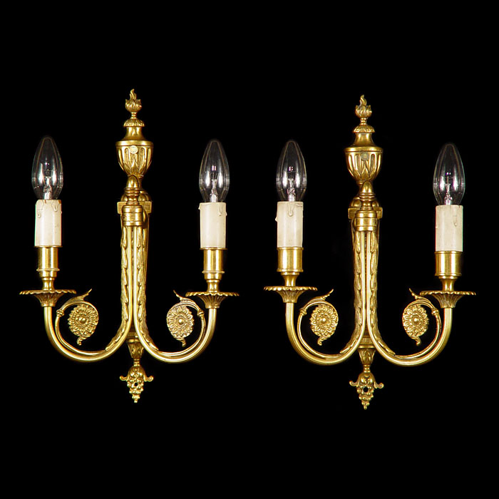 Neoclassical Style Pair of Bronze Wall Lights