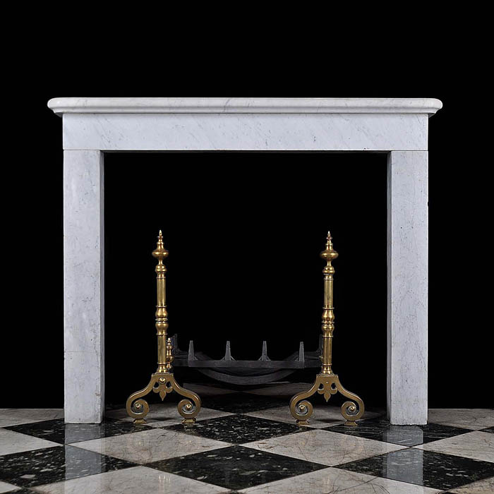 A 20th century White Carrara Marble Chimneypiece