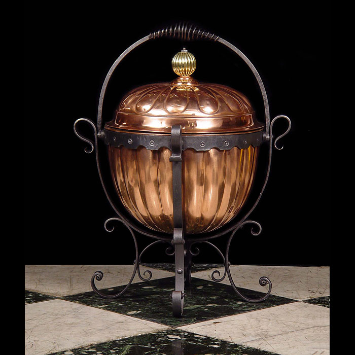 A copper and wrought iron Victorian coal basket