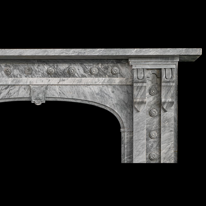 A  large antique Bardiglio marble Victorian chimneypiece