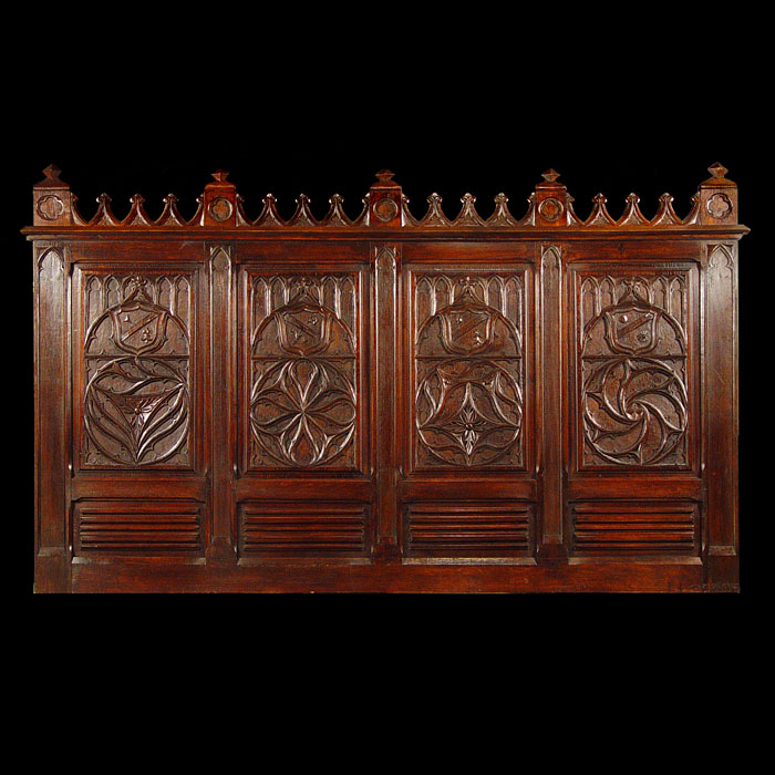 A Carved Oak Gothic Revival Overmantel
