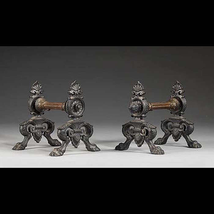 A pair of patinated bronze English Regency Fire Tool Rests