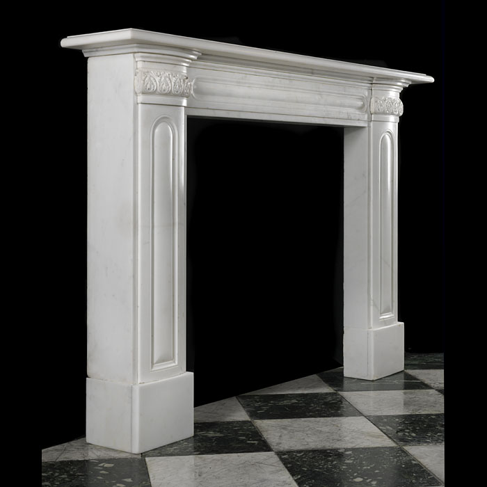 Antique English fireplace in a White Statuary Marble Regency style