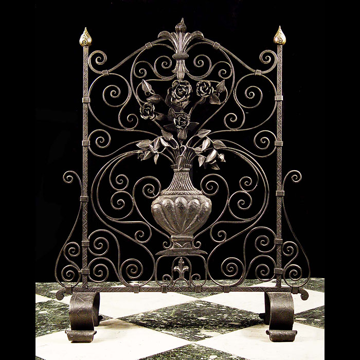 Antique Wrought Iron Fire Guard with central Urn