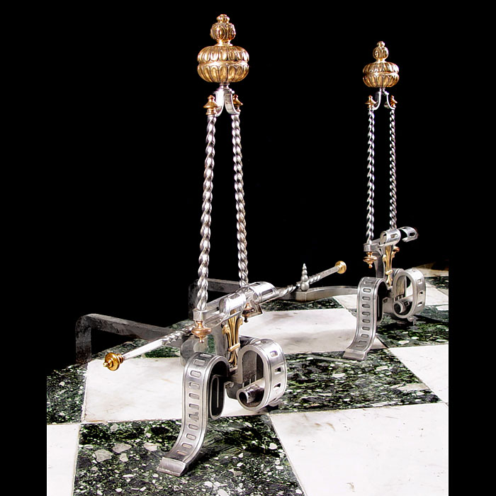 Rare Burnished Steel & Bronze Andirons