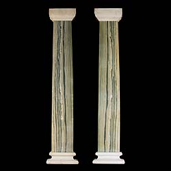 A pair of 1930's Cippolino marble pilasters