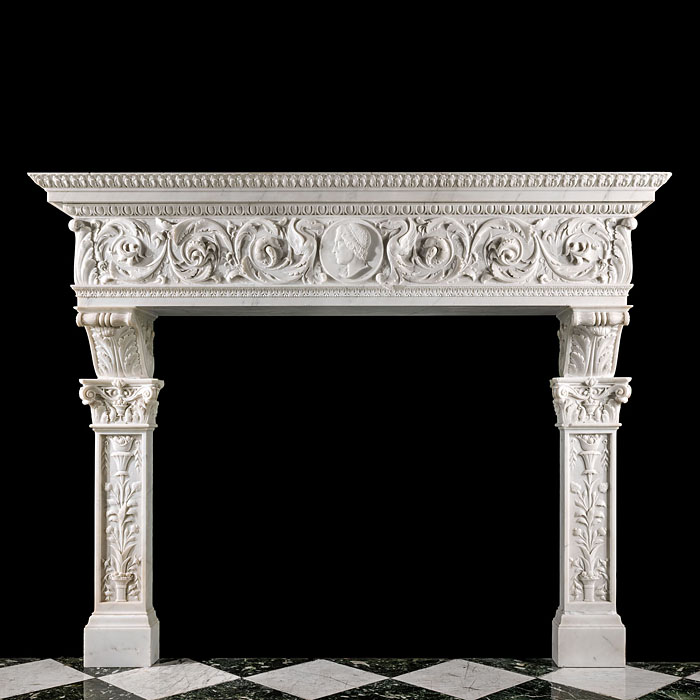 9902: A TALL AND IMPRESSIVE ITALIAN PALAZZO CHIMNEYPIECE IN THE RENAISSANCE MANNER richly carved statuary marble in high relief. The frieze of this grand fireplace mantel centred with a cameo nobleman's pro
