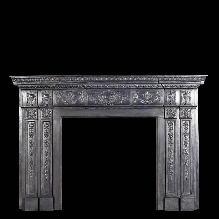 Antique English Georgian Cast Iron Neo Classical Chimneypiece