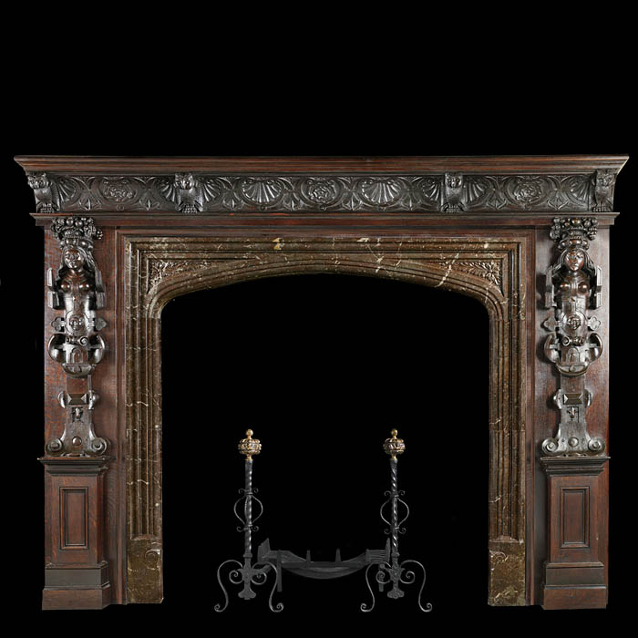 Renaissance carved oak fireplace and overmantel