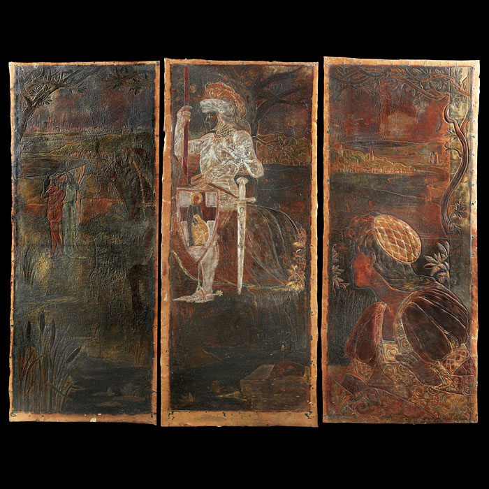 Arts & Craft set of three leather panels