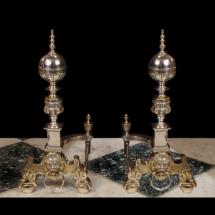A pair of Antique nickel plated brass Dutch Baroque style Andirons