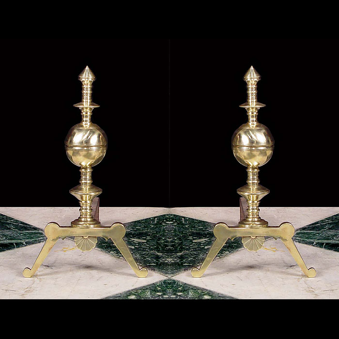 An Antique pair of brass Aesthetic style rass andirons