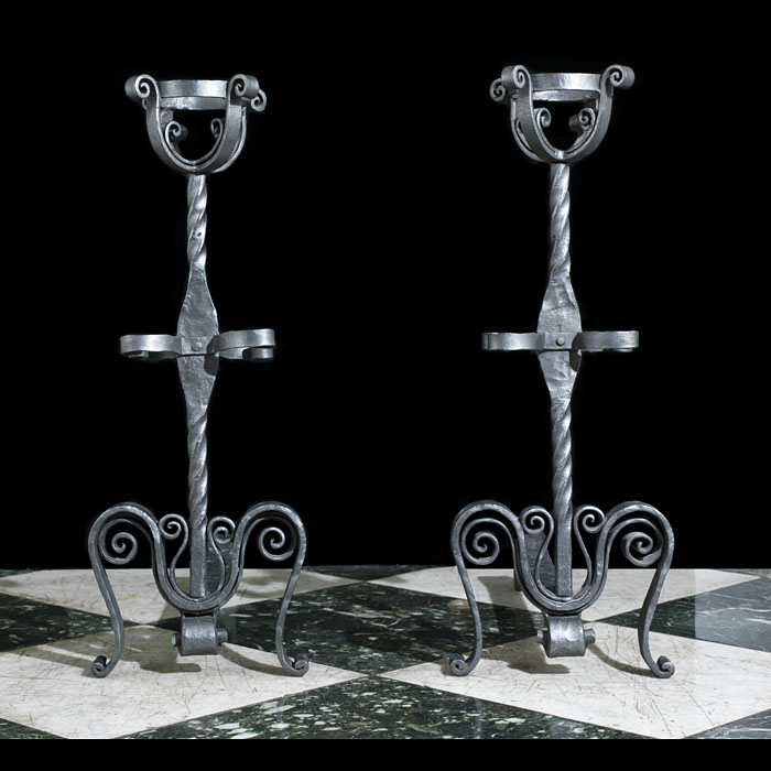 Cresset Pair of Jacobean Style Andirons