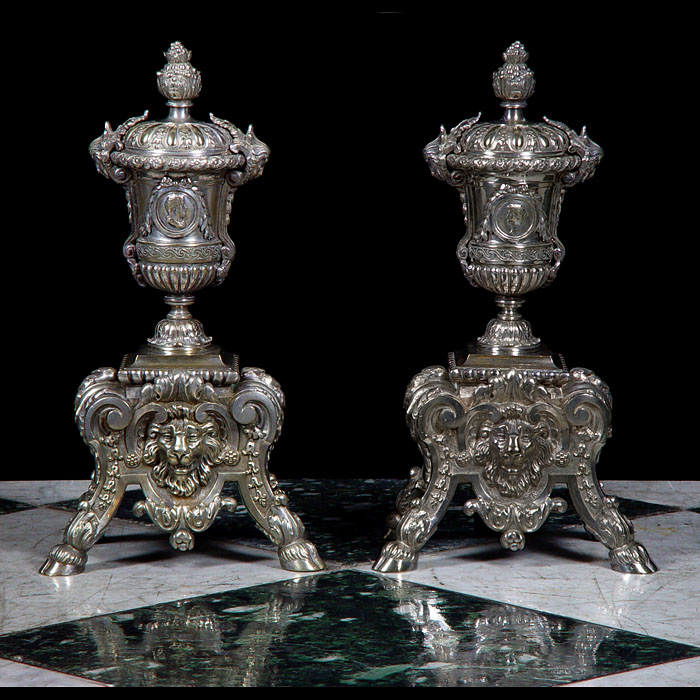 Charles II Style Silver Plated Andirons