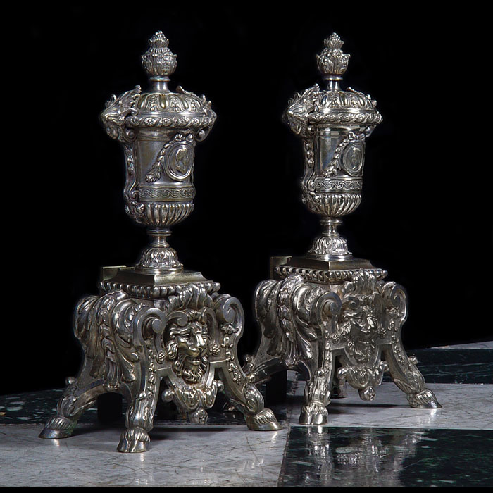 Antique Charles II style Baroque Andirons with large Urns