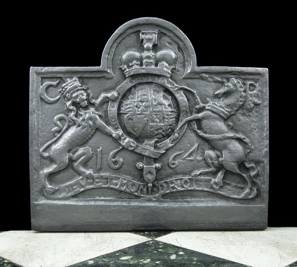 cast iron fireback. An Heraldic Cast Iron Antique Fireback