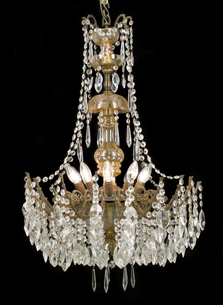 Large ornate tinted glass chandelier westland london a 20th century large ten light glass victorian style chandelier mozeypictures Choice Image