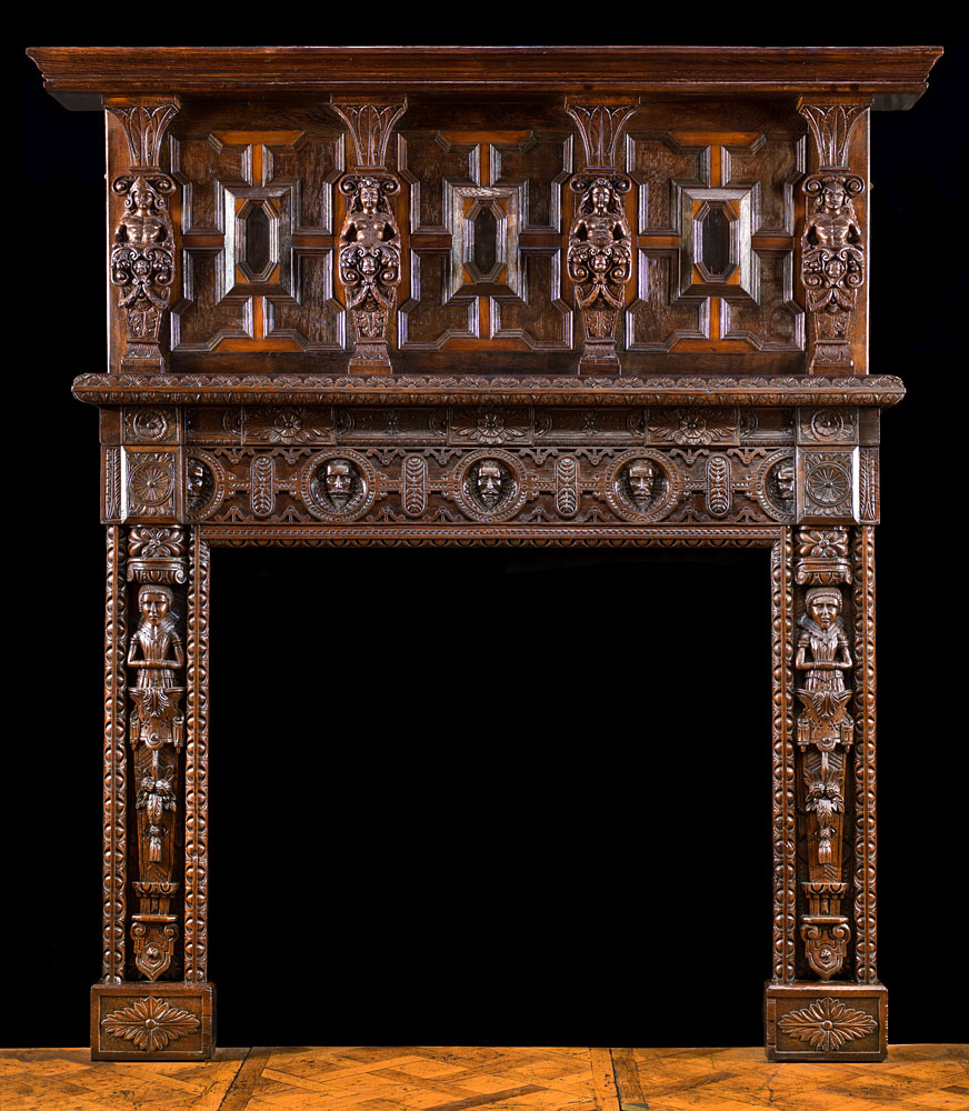 Tudor Jacobean Caryatid Oak Fireplace Westland Antiques