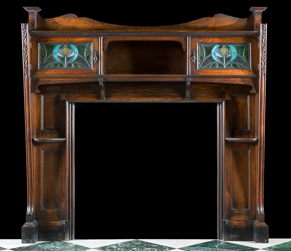 Oak Arts And Crafts Wood Fireplace Westland Antiques