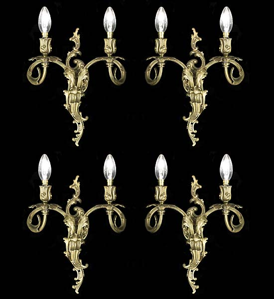 Louis xv brass four antique wall lights westland london rococo style set of four antique brass wall lights aloadofball Gallery