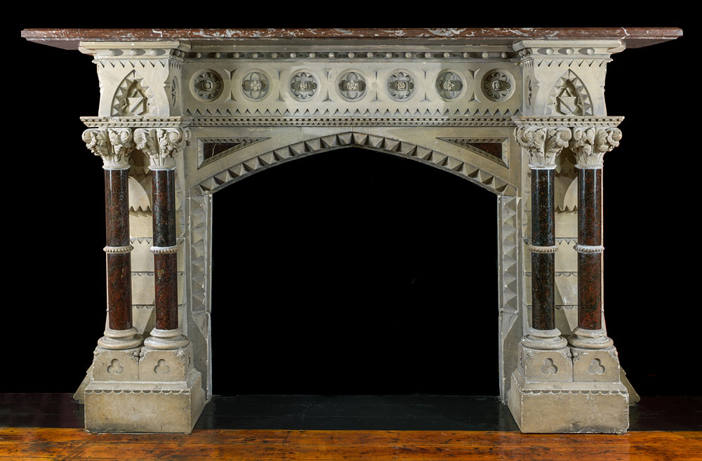 mantel antique fireplace with decor mirror