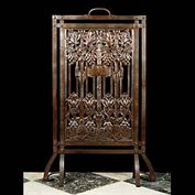 10111: LIBERTY LONDON GRAPES ON THE VINE:  A fine Art Nouveau Firescreen in the manner of Libertys London.or even the Mackintosh school in Glasgow, the bronzed iron design of repousse metal stylised Grapes o