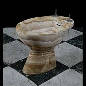 11835: A bathroom Bidet in Cippolino Africano Onyx. French, 1930s.  Link to: Antique fountains, sculptures, garden furniture and statuary