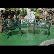 11950: ONE OF TWO CAST IRON CURVED GARDEN BENCH SEATS, in the manner of Coalbrookedale. Late 20th century...used replicas.  Link to: Antique fountains, sculptures, garden furniture and statuary