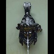 11961: A small cast iron wall fountain spout in the Baroque manner shaped in the form of a chrubs head.English,19th Century.   Link to: Antique fountains, sculptures, garden furniture and statuary