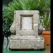12034: AN ART DECO PORTLAND STONE PLINTH, with baluster protrusions on either side.Circa 1930.   Link to:  Antique Columns, Plinths, Pedestals and Towers