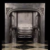 4017: A Victorian Steel and cast iron fireplace insert with Rococo decorative cast detail. 19th century.  Link to: Antique Fire grates and Register grates.