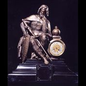 4265: A fine, large mantel clock with a bronzed figure of King Arthur on a Belgian black marble plinth.French, 19th century, circa 1860.