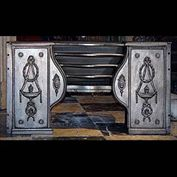 8568: An elegant Adam hob grate with wreath & incense burners depicted in the Roman inspired decoration. Scottish, late 18th century.  Link to: Antique Hobgrates