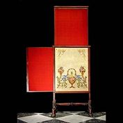 8662: A William IV Mahogany firescreen with rising and sliding panels, fluted frame and strectcher. English circa 1810.   Link to:  Antique Firescreens.