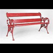 9506: A late 19th century Victorian garden bench with vine leaf and grape cast iron ends.  Link to: Antique fountains, sculptures, garden furniture and statuary