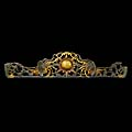 Antique carved wood pediment of the sun and phoenix